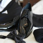 Groom's black shoes for wedding