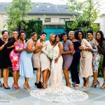 Bride with her girlfriends at her surprise wedding
